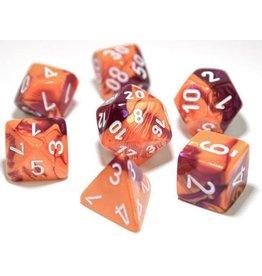 Chessex Dice: 7-set Cube Lab Dice Gemini Orange Purple w/white (Chessex)