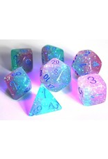 Chessex Dice: 7-set Cube Lab Dice Luminary Gemini Green Pink with Blue Numbers (Chessex)