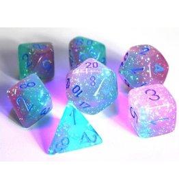 Chessex Dice: 7-set Cube Lab Dice Luminary Gemini Green Pink w/blue (Chessex)