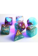 Chessex Dice: 7-set Cube Lab Dice Luminary Gemini Copper Turqoise with White Numbers (Chessex)