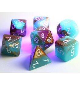 Chessex Dice: 7-set Cube Lab Dice Luminary Gemini Copper Turqoise w/White (Chessex)