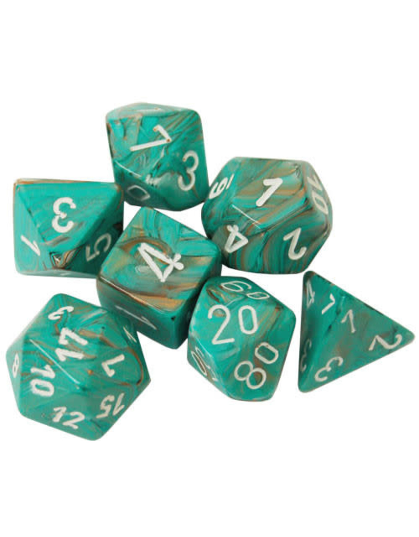 Chessex Dice: 7-Set Cube Marble Oxi-Copper with White Numbers (Chessex)