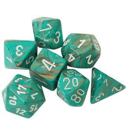 Chessex Dice: 7-Set Cube Marble Oxi-Copper w/white (Chessex)