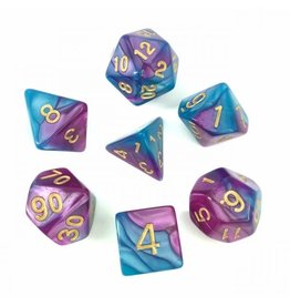 HD Dice Dice: 7-Set Blend Blue-Light Purple with Gold (HD)