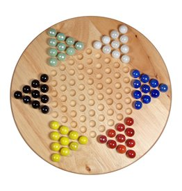 Wood Expressions Chinese Checkers Set with Glass Marbles