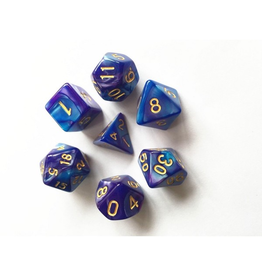 HD Dice Dice: 7-Set Blend Blue-Dark Purple with Gold Numbers (HD)