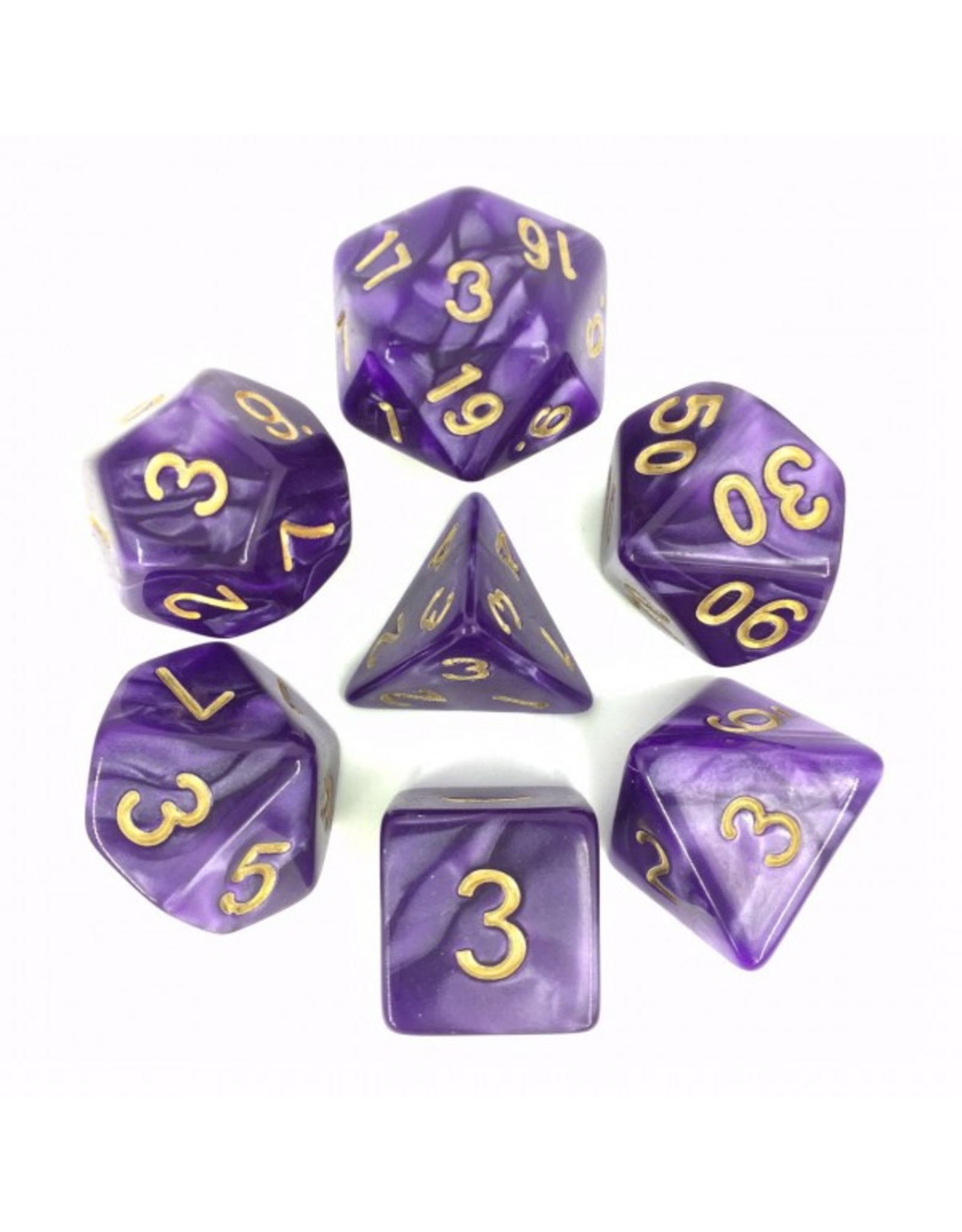 HD Dice Dice: 7-Set Pearl Purple with Gold Numbers (HD)
