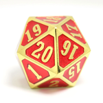 Die Hard Dice Roll Down D20 Die: Shiny Gold Ruby