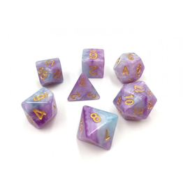 HD Dice 7-Set Marble Purple, Blue, White w/ Gold (HD)