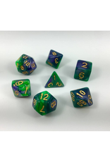 HD Dice Dice: 7-Set Blend Green Purple with Gold Numbers (HD)