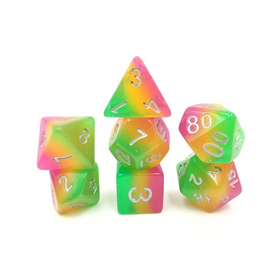 HD Dice 7-Set Layer Rose-Yellow-Green w/ Silver (HD)