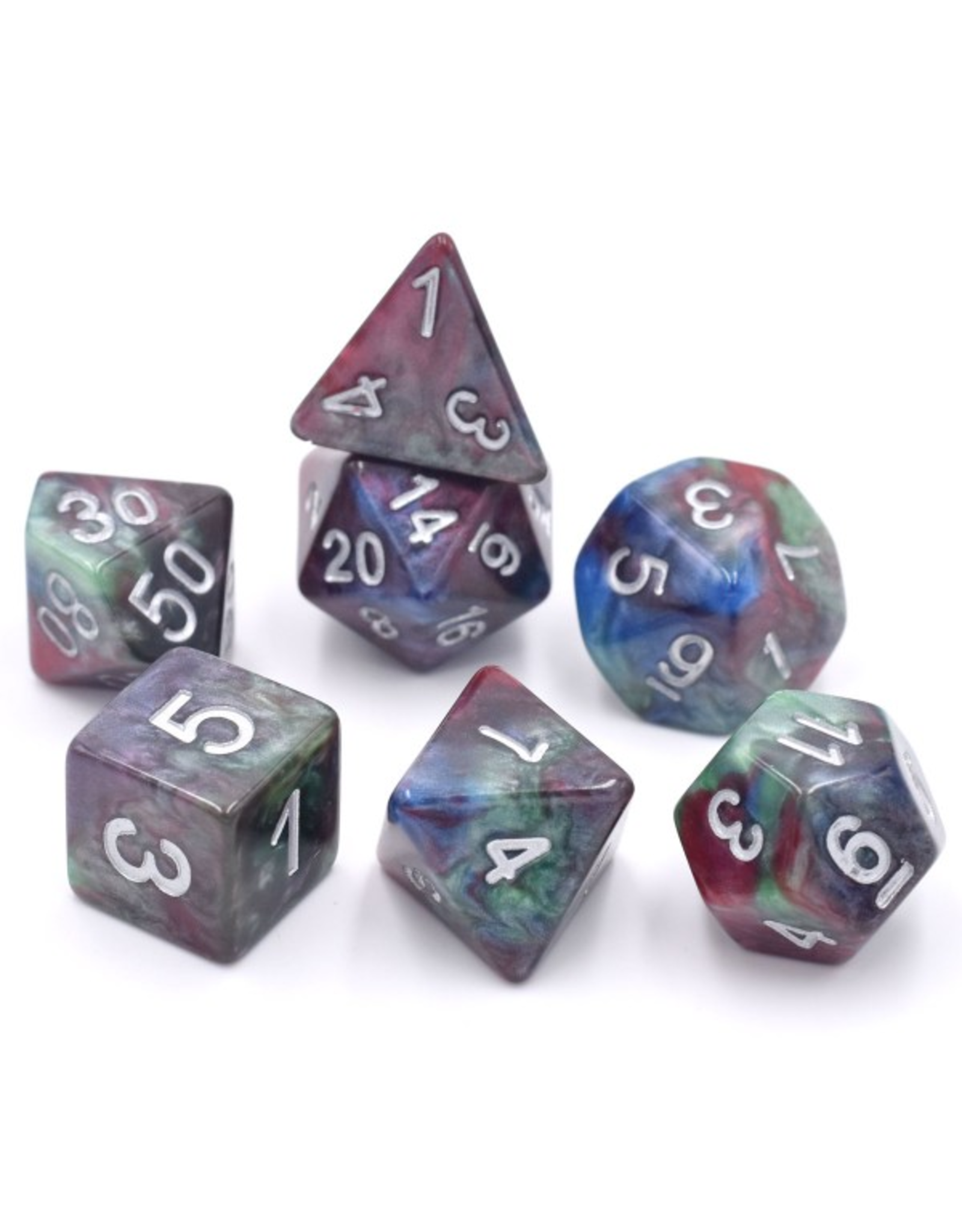 HD Dice Dice: 7-Set Marble Red-Green-Blue with Silver Numbers (HD)