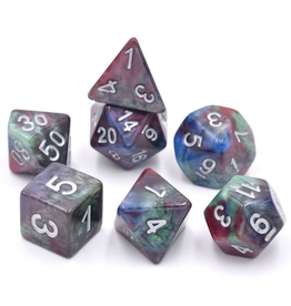 HD Dice 7-Set Marble Red-Green-Blue w/ Silver (HD)