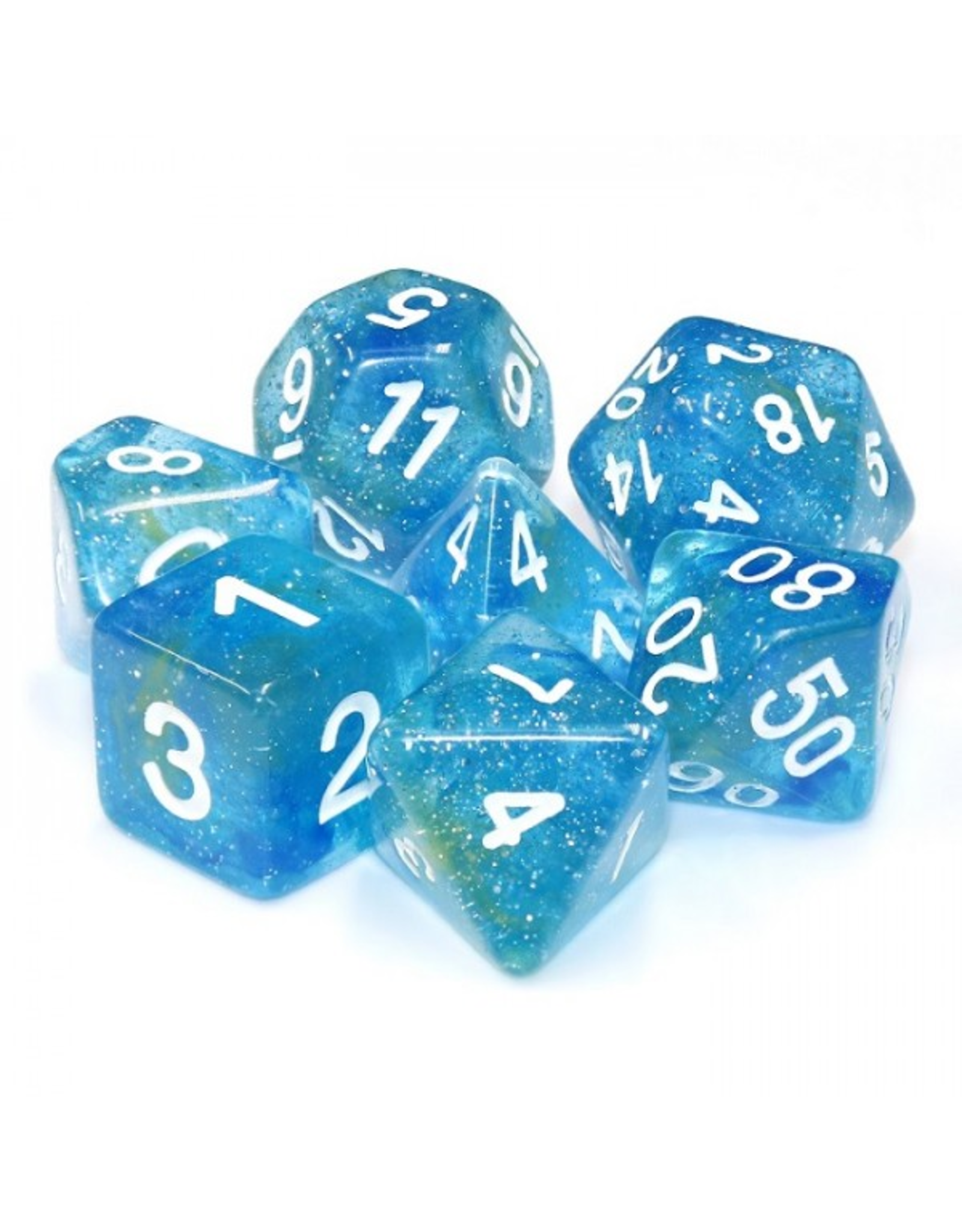 HD Dice Dice: 7-Set Galaxy Blue Yellow with White Numbers (HD)