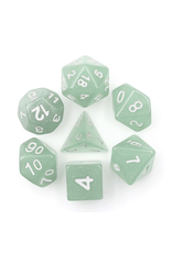 HD Dice Dice: 7-Set Translucent Glitter Light Green with White Numbers (HD)