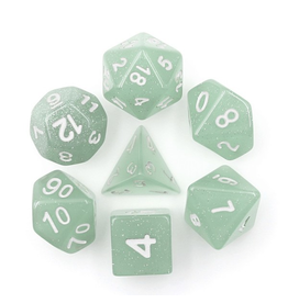 HD Dice 7-Set Translucent Glitter Light Green w/ White (HD)