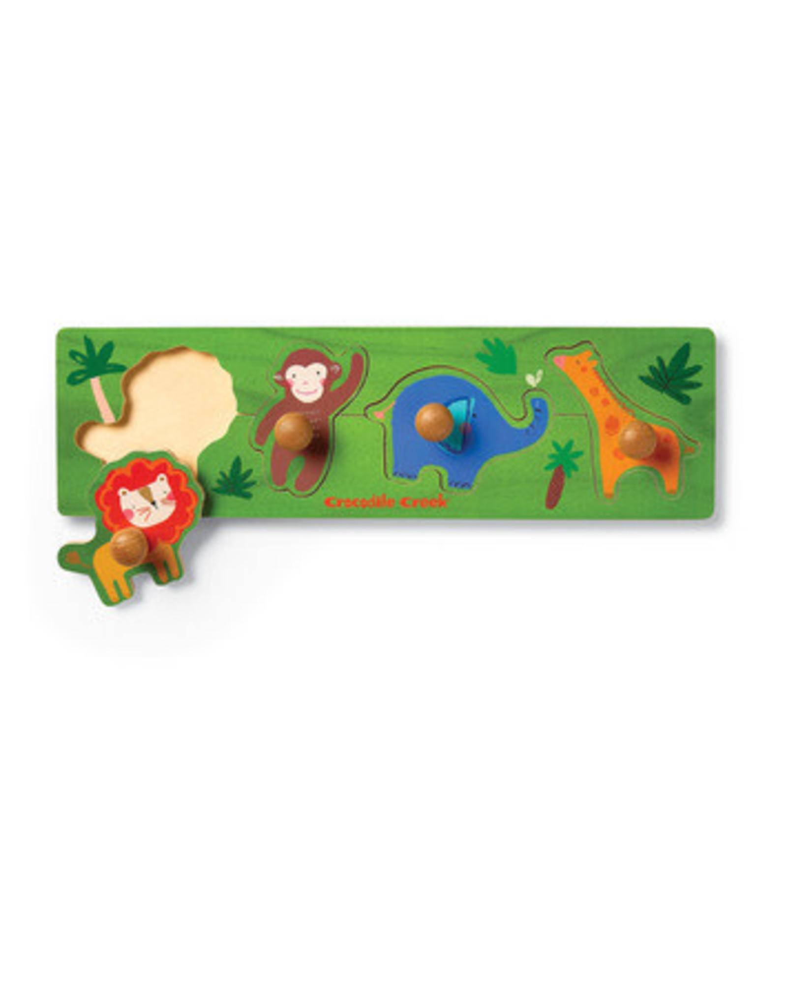 Crocodile Creek Wood Knob Puzzle Jungle 4p