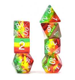 HD Dice 7-Set Aurora Red-Yellow-Green w/ White (HD)