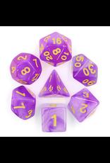 HD Dice Dice: 7-Set Milky Purple w/ Gold Numbers (HD)