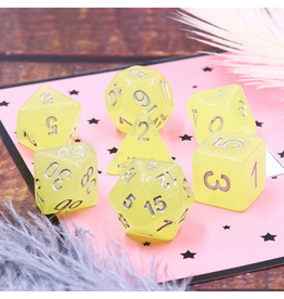 HD Dice 7-Set Translucent Glitter Yellow w/ Silver (HD)