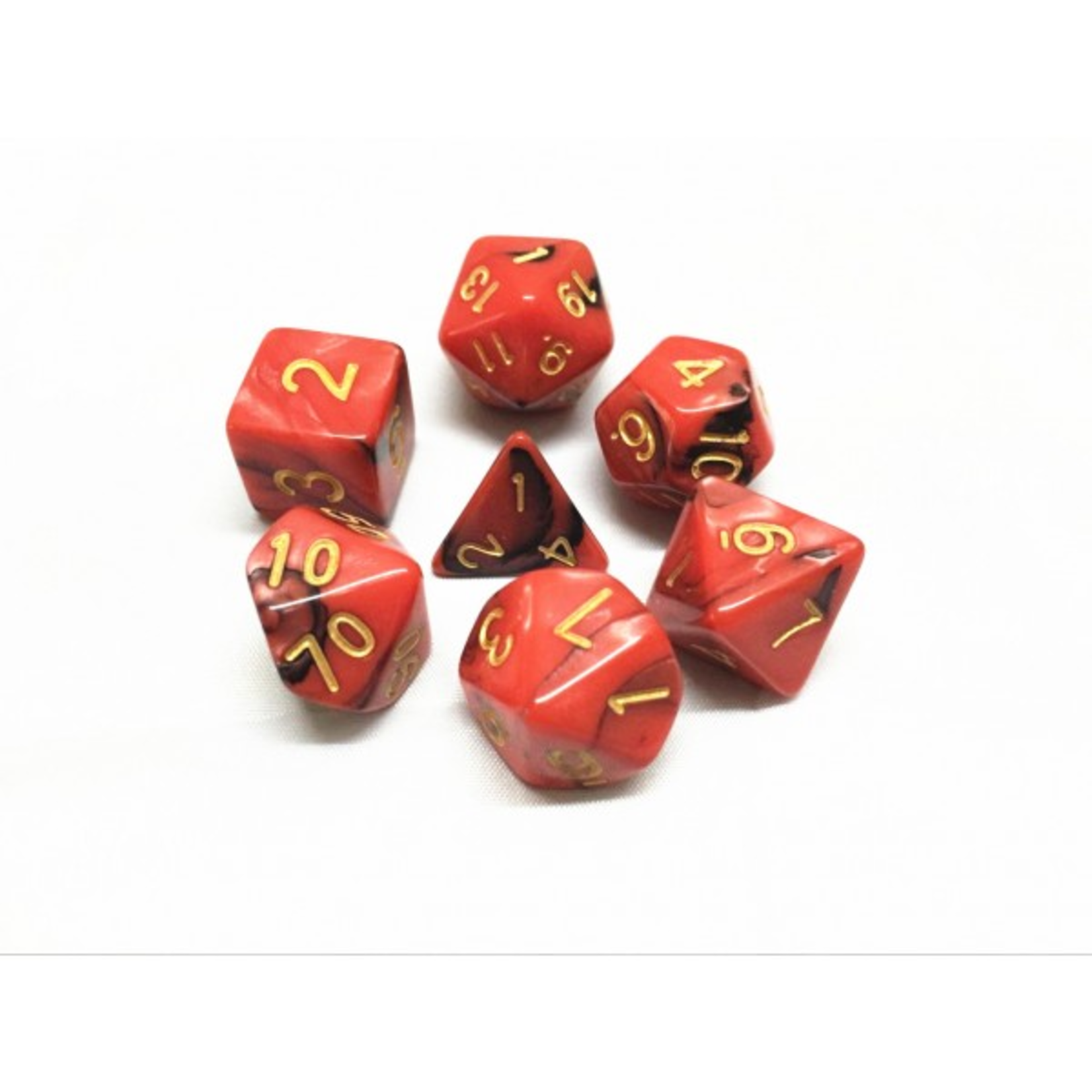 HD Dice Dice: 7-Set Blend Red and Black with Gold Numbers (HD)