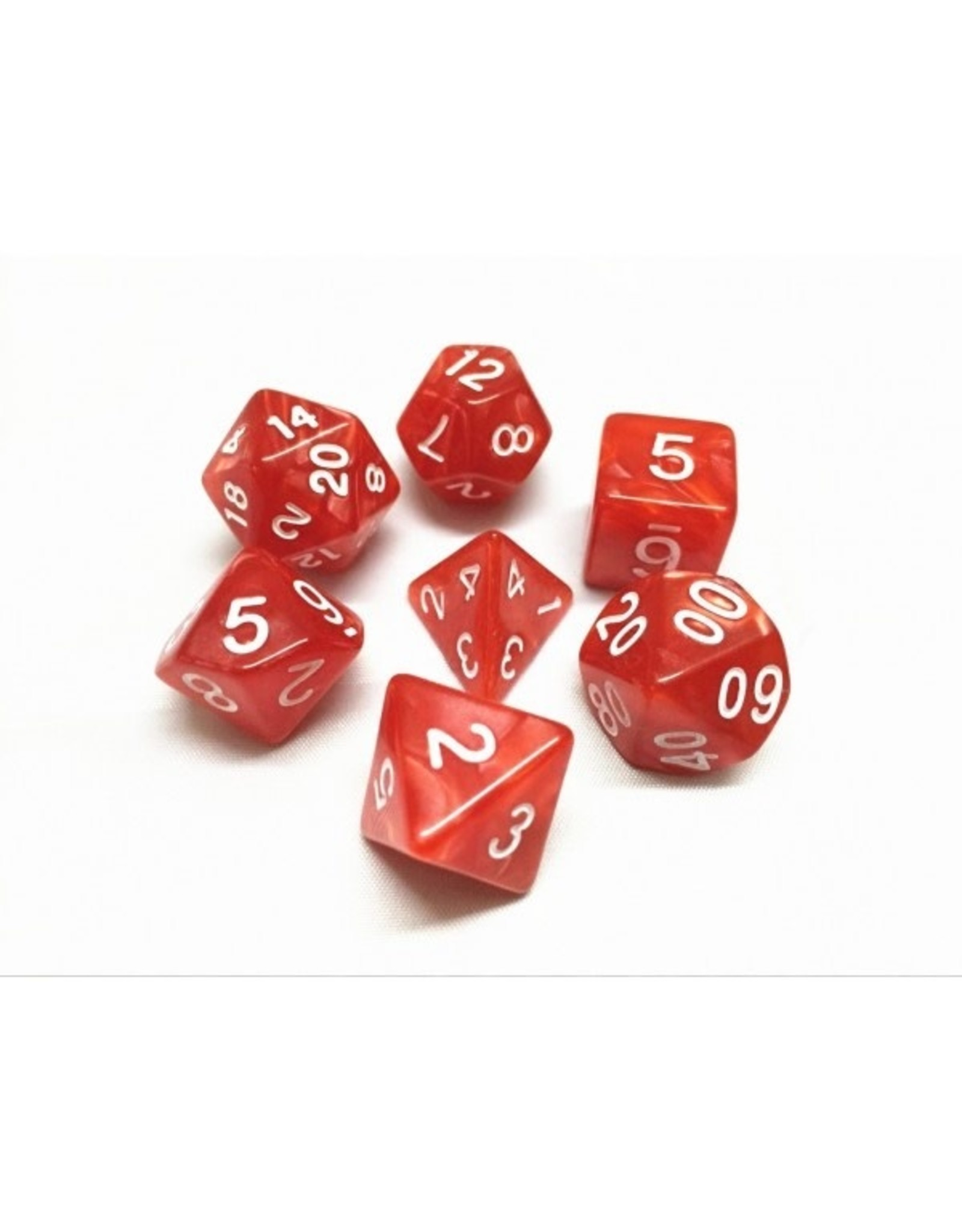 HD Dice Dice: 7-Set Pearl Red with White Numbers (HD)