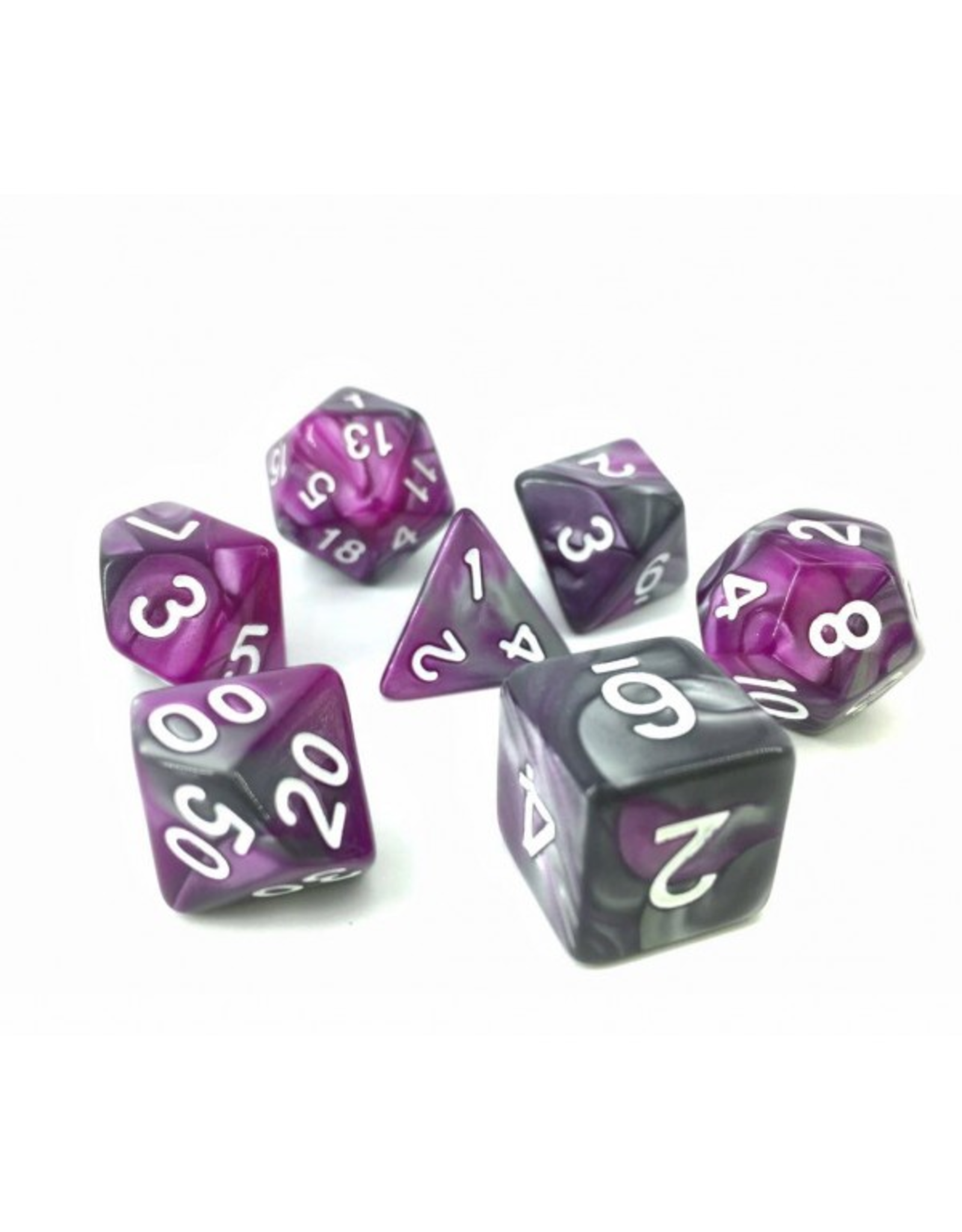 HD Dice Dice: 7-Set Blend Silver and Purple with White Numbers (HD)