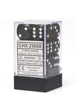 Chessex Dice: d6 Cube 16mm Opaque Black with White (12)