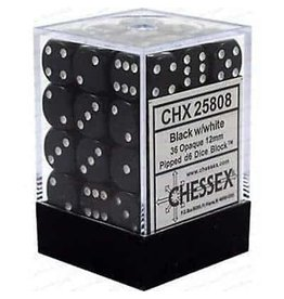 Chessex Dice: d6 Cube 12mm Opaque Black with White (36)
