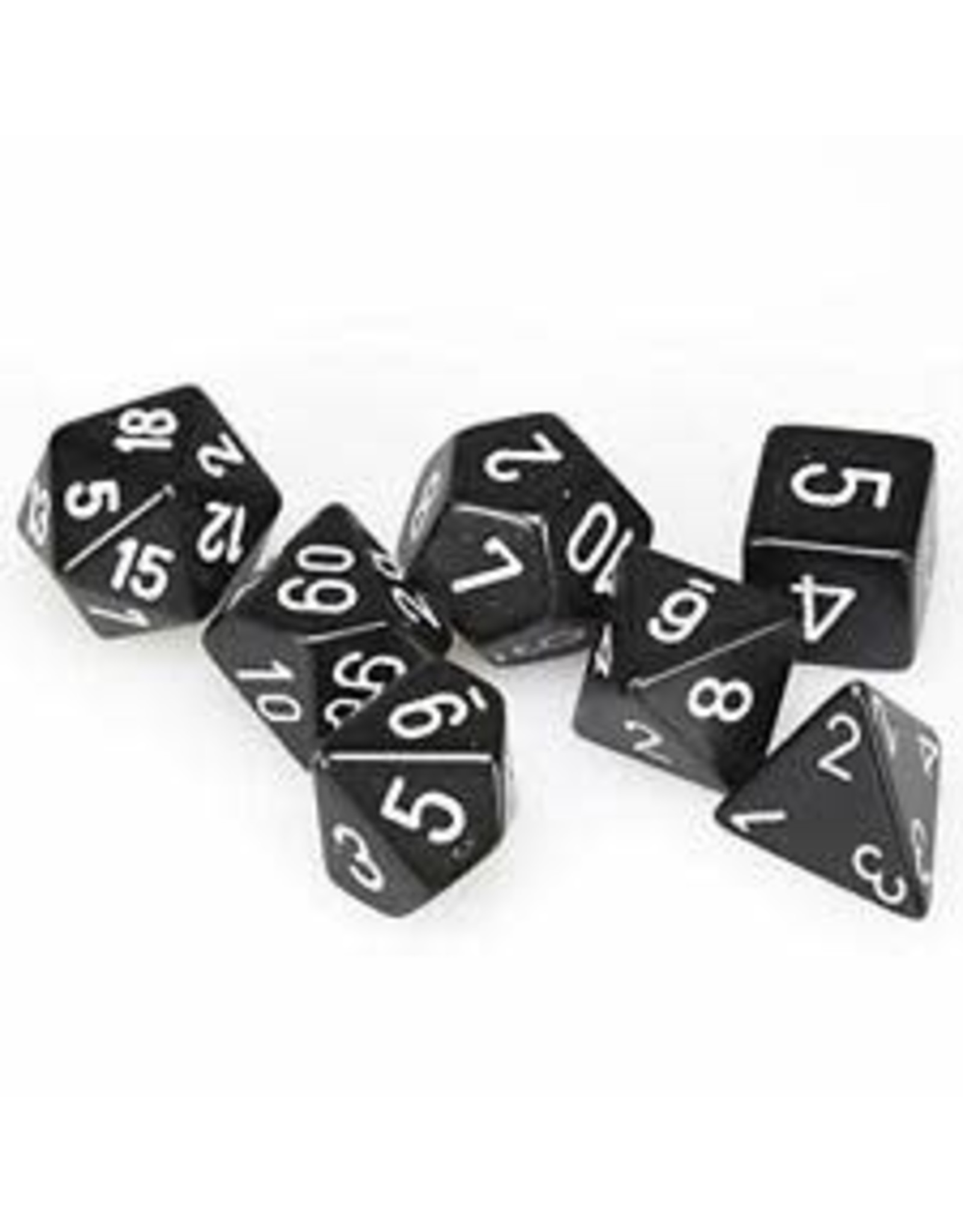 Chessex Dice: 7-Set Cube Opaque Black with White number
