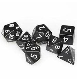 Chessex Dice: 7-Set Cube Opaque Black w/White