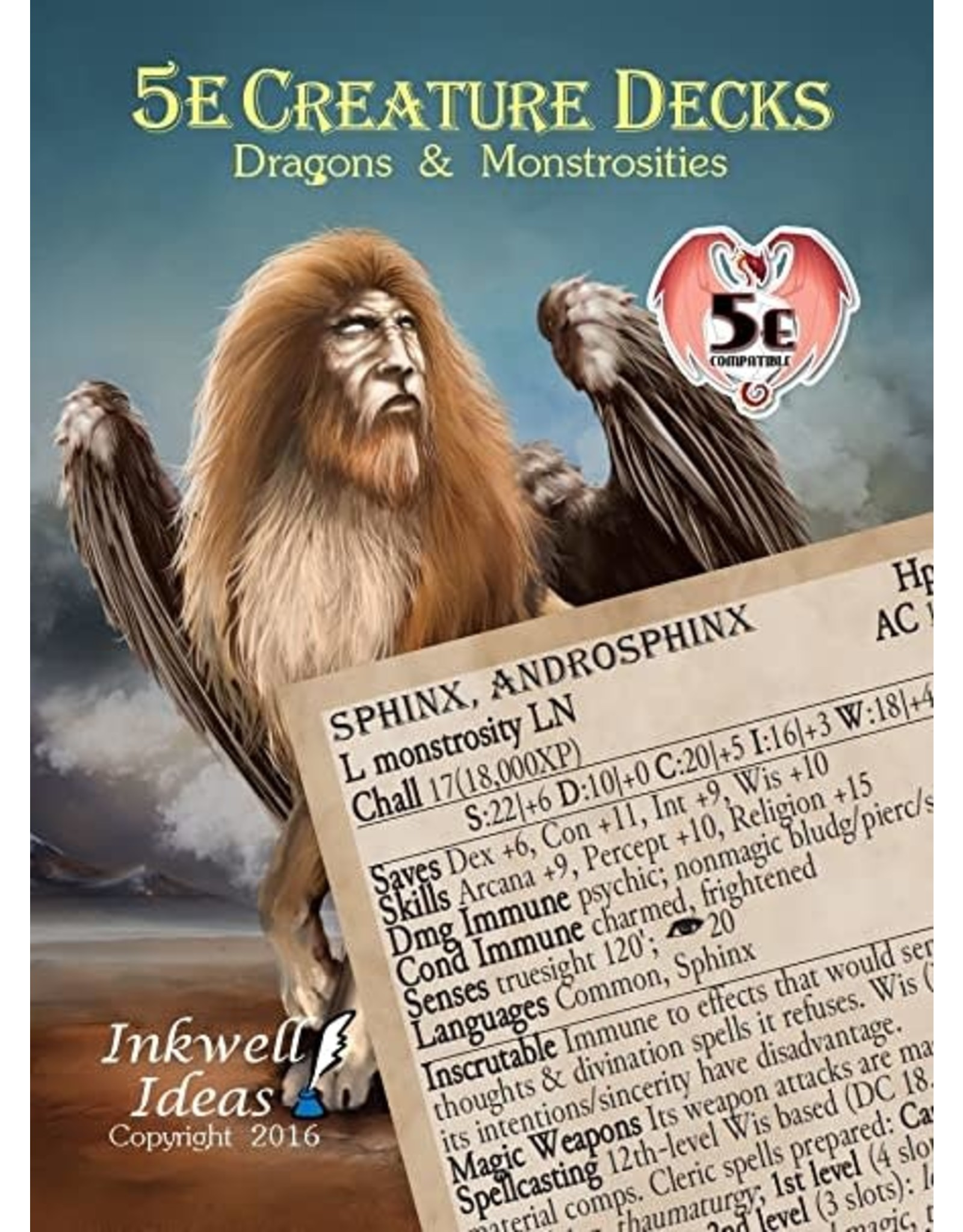 Inkwell Ideas Dungeons & Dragons 5th edition Creature Decks: Dragons & Monstrosities