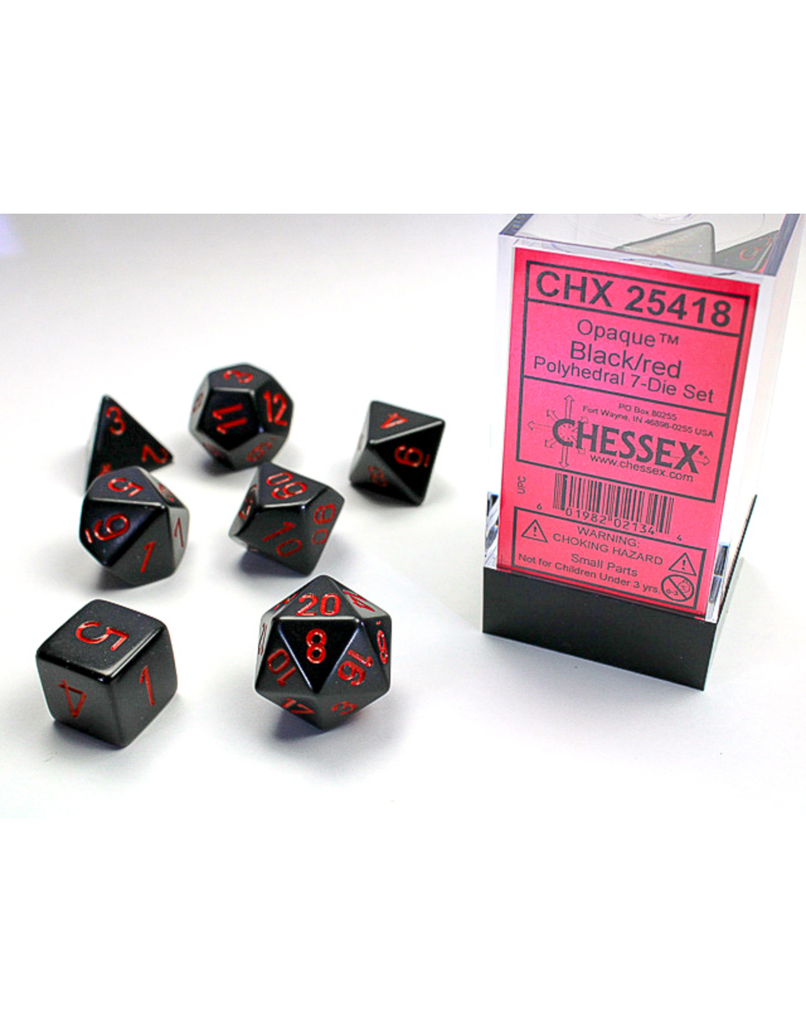 Chessex Dice: 7-Set Cube Opaque Black with Red Numbers (CHX)