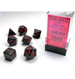 Chessex 7-Set Cube Opaque Black/Red