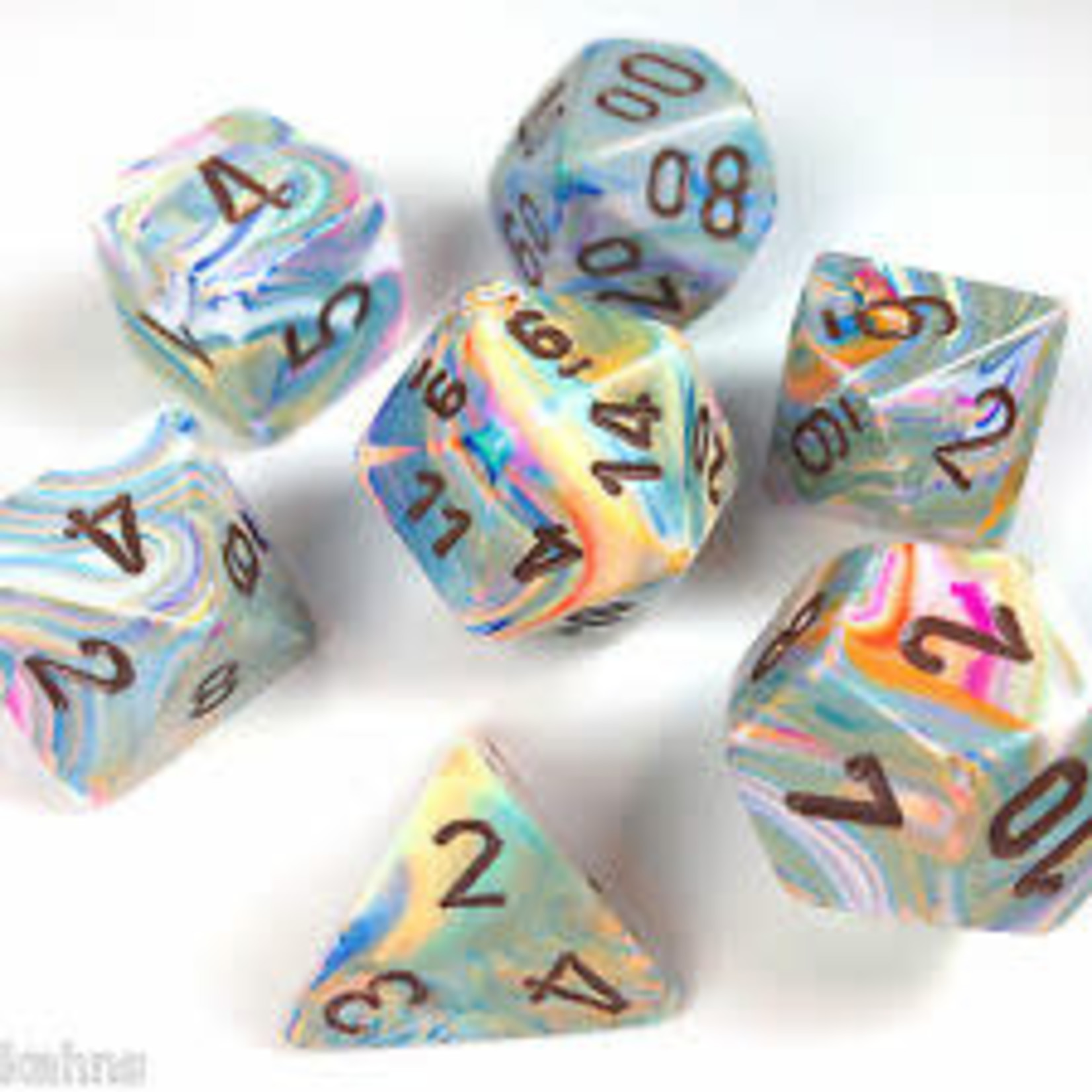 Chessex Dice: 7-Set Festive Vibrant with Brown Numbers (CHX)