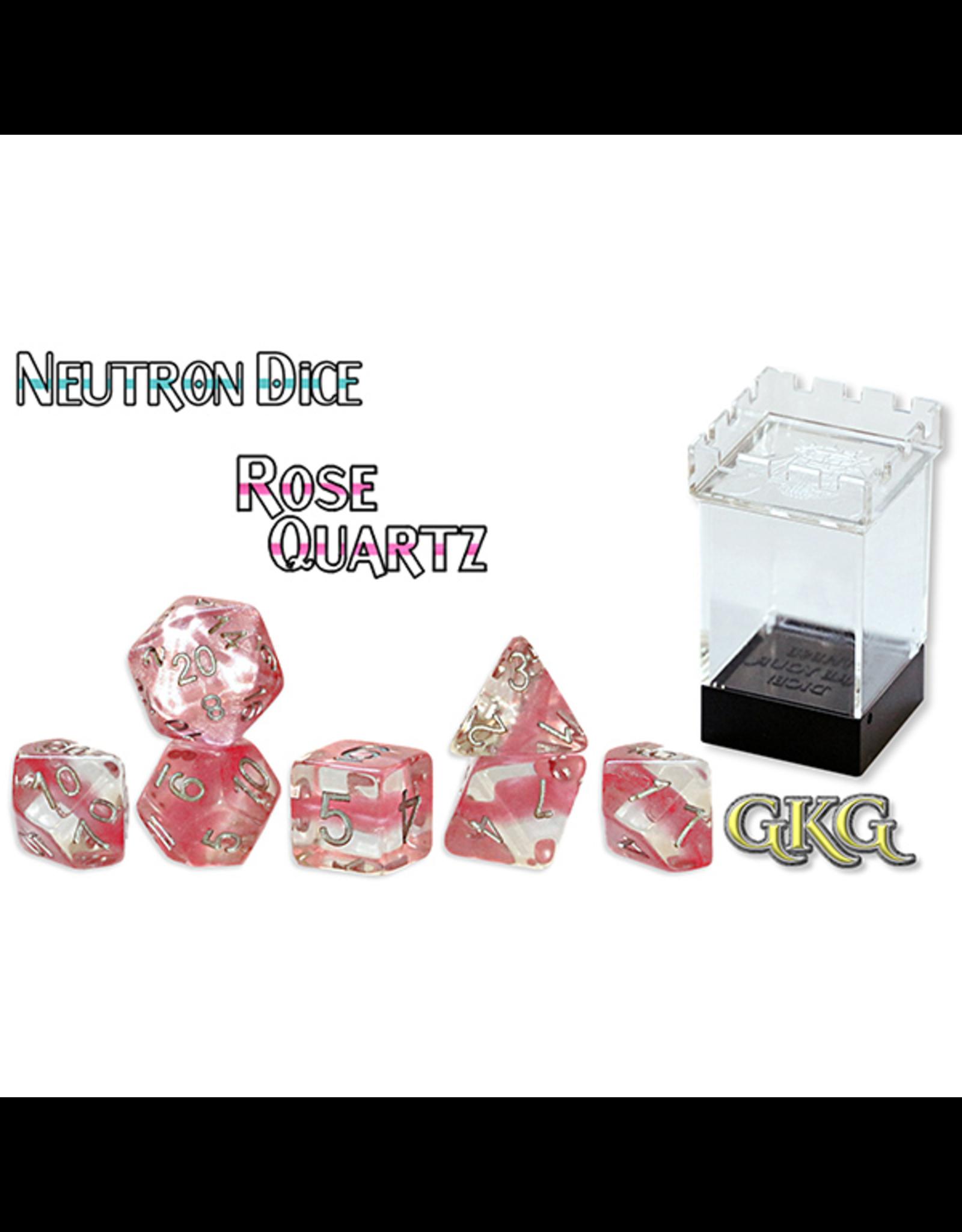 Gate Keeper Games Dice: 7-Set Neutron Rose Quartz (GKG)