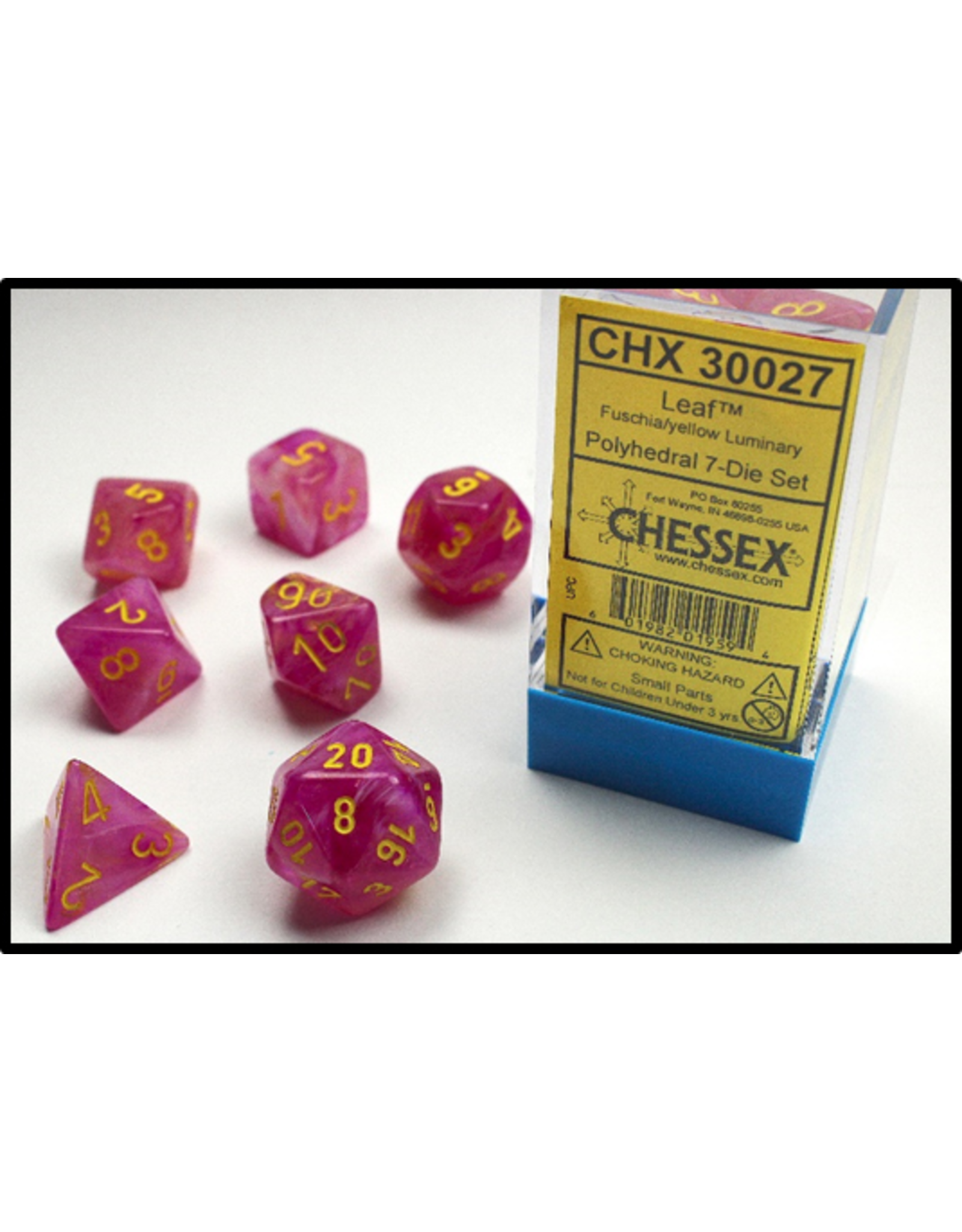 Chessex Dice: 7-set Cube LD Leaf Luminary GND Fuschia with Yellow Numbers (CHX)