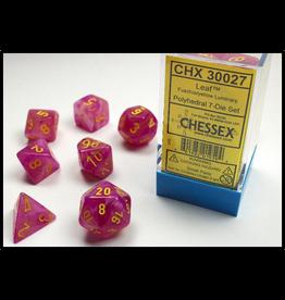 Chessex 7-Set Cube Glow Luminary Leaf Fuschia/Yellow