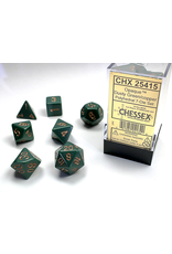 Chessex Dice: 7-set Cube Opaque Dusty Green with Copper Numbers