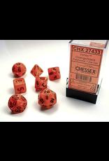 Chessex Dice: 7-set Cube Vortex Orange with Black Numbers (CHX)