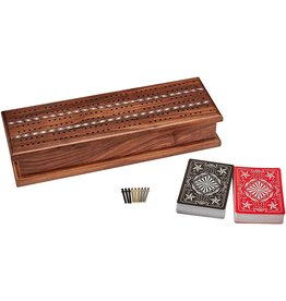 Worldwise Imports Cribbage: Inlaid Walnut Wood Top