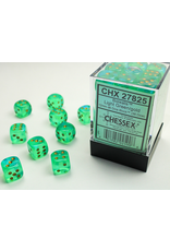 Chessex Dice: D6 Cube 12mm Borealis #2 Light Green with Gold Pips (CHX)