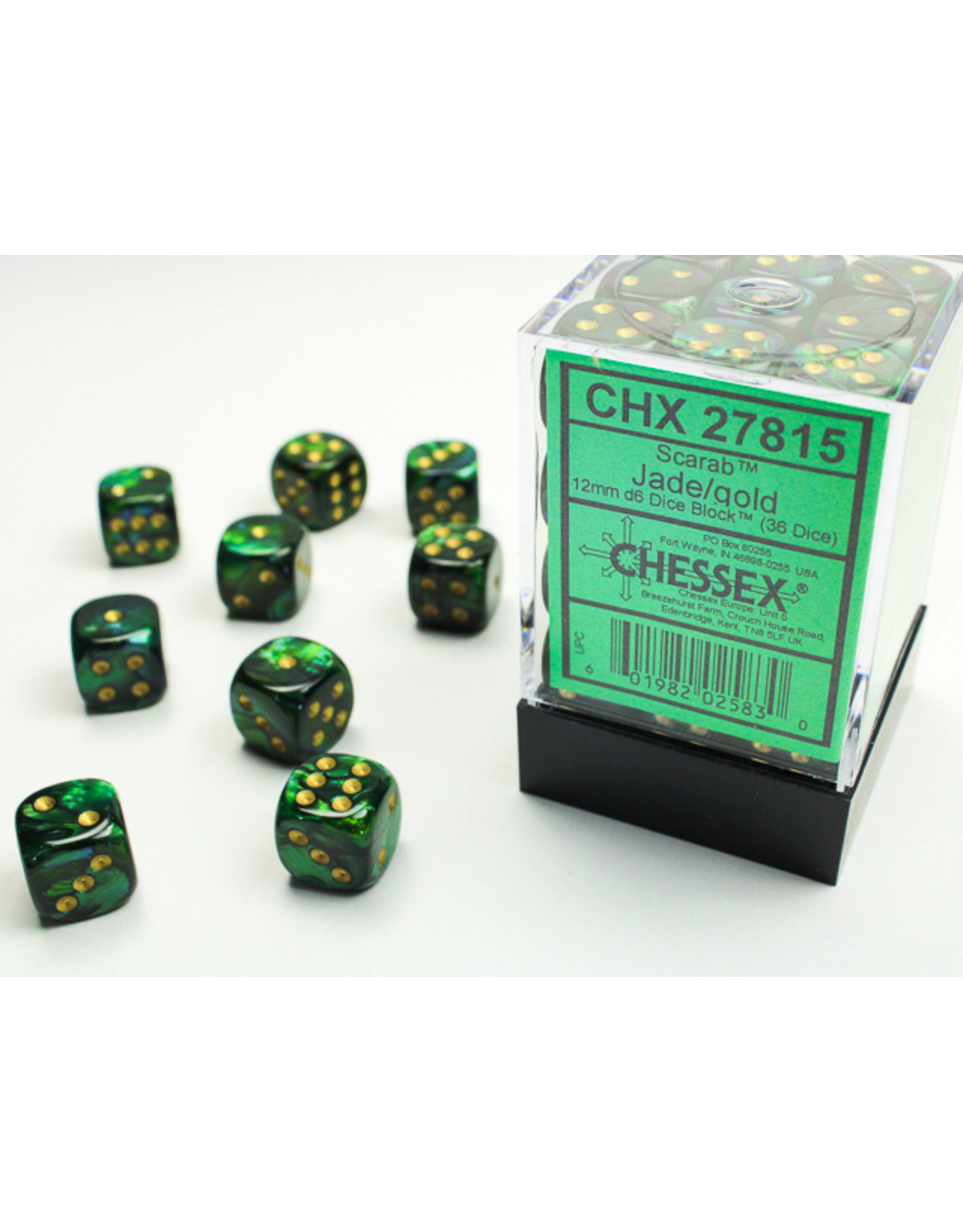 Chessex Dice: D6 Cube 12mm Scarab Jade with Gold Pips (CHX)
