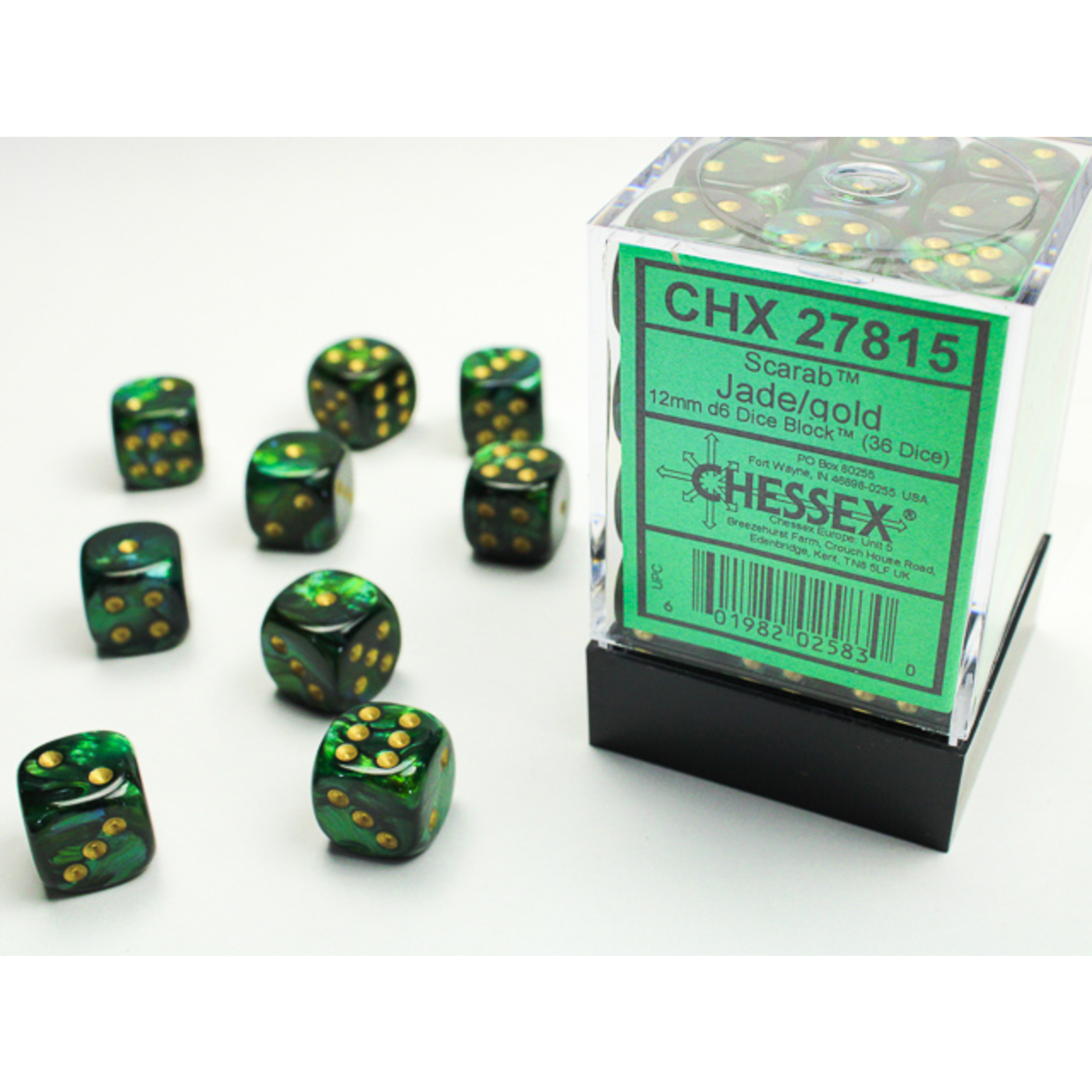 Chessex Dice: Dice: D6 Cube 12mm Scarab Jade with Gold Pips (CHX)
