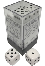 Chessex Dice: D6 Cube 16mm Opaque White with Black Pips (CHX)