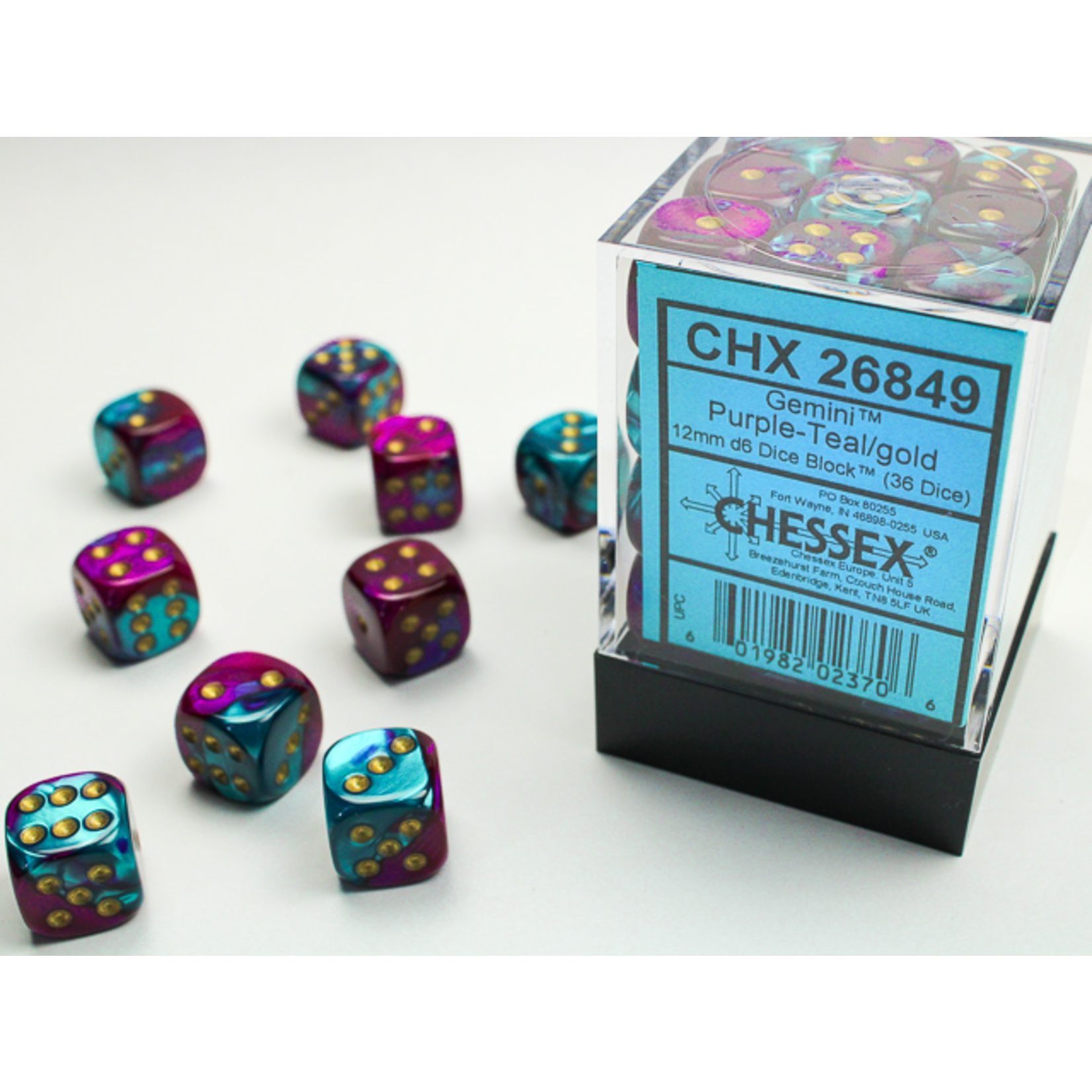 Chessex Dice: D6 Cube 12mm Gemini Purple-Teal with Gold Pips (CHX)