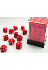 Chessex Dice: D6 Cube 12mm Opaque Red with White Pips (CHX)