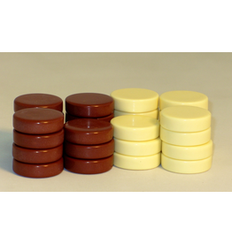"""Worldwise Imports Urea Brown and Ivory White Backgammon Checkers 1.25"""" (WI)"""