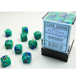 Chessex D6 Cube 12mm Gemini#7 BUTLgd