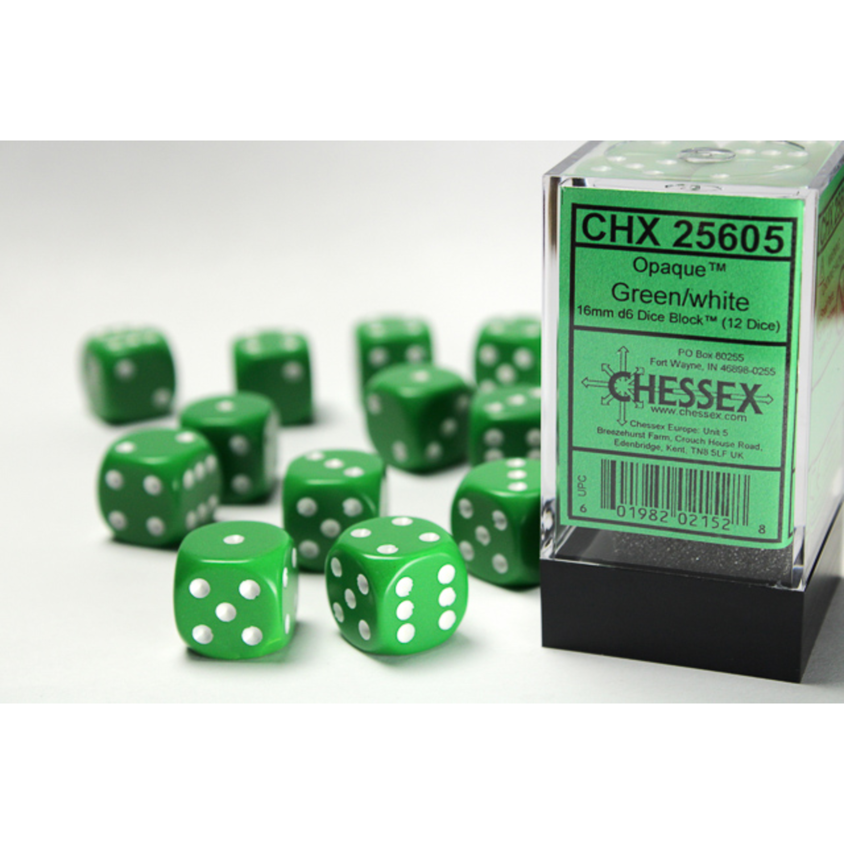 Chessex Dice: D6 Cube 16mm Opaque Green with White Pips (CHX)